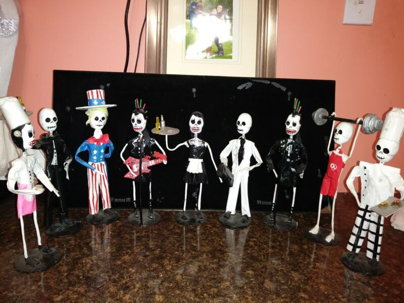 """DAY OF THE DEAD PAPER MACHE  DOLLS  2PC SET  """"CLEARANCE SALE"""""""