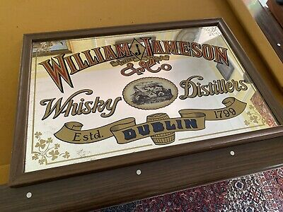 Large Vintage William Jameson Whisky Dublin Mirrored Bar Sign