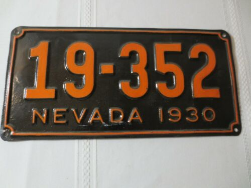1930 NEVADA RESTORED LICENSE PLATE 19-352