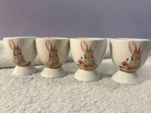 Grace Teaware Easter Egg Cups set of 4 Rabbits eggs & flowers ceramic OH3225