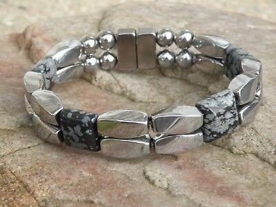 Men Women Silver Magnetic Hematite Bracelet Anklet Necklace w SNOWFLAKE OBSIDIAN Hematite Obsidian Necklace