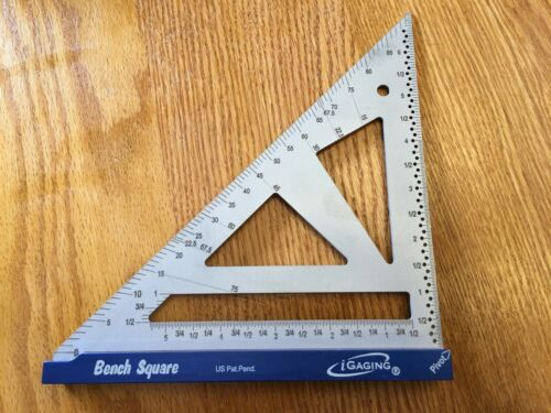 """iGaging Bench Square 4"""" Stainless Steel Precision 16th & 32nd Scales"""