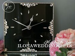 Swarovski Crystals Unique Bling Sparkle Silent Wall Clock Watch Glitter Modern