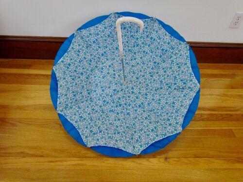 RARE Liberty of London Umbrella Blue Purple Floral Motif Marbled Lucite Handle