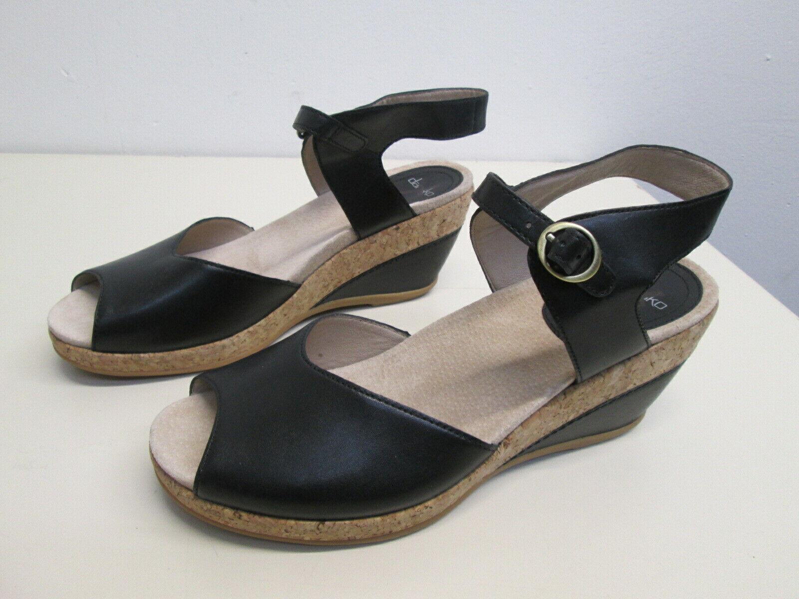 New Dansko Charlotte Black Leather Sandal Wedge open toe hee