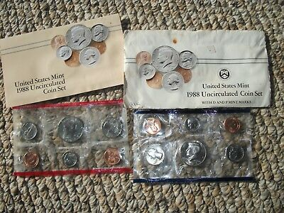 1988 US 10 Coin Uncirculated Mint Set P & D w Original Envelope FREE SHIPPING