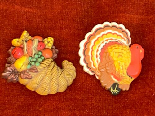Vintage Thanksgiving Holiday Hallmark Cards Plastic Turkey & Cornucopia Pins