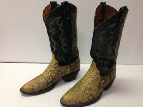 Cowtown, Mens, Python, Snakeskin, Exotic, Cowboy, Boots, Black, Leather, Western, Sz, 8.5, D