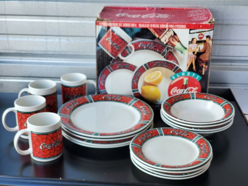 Vtg 1996 Coca-Cola Coke Gibson 15pc Set Stained Glass Dishes Mugs Plates Bowls