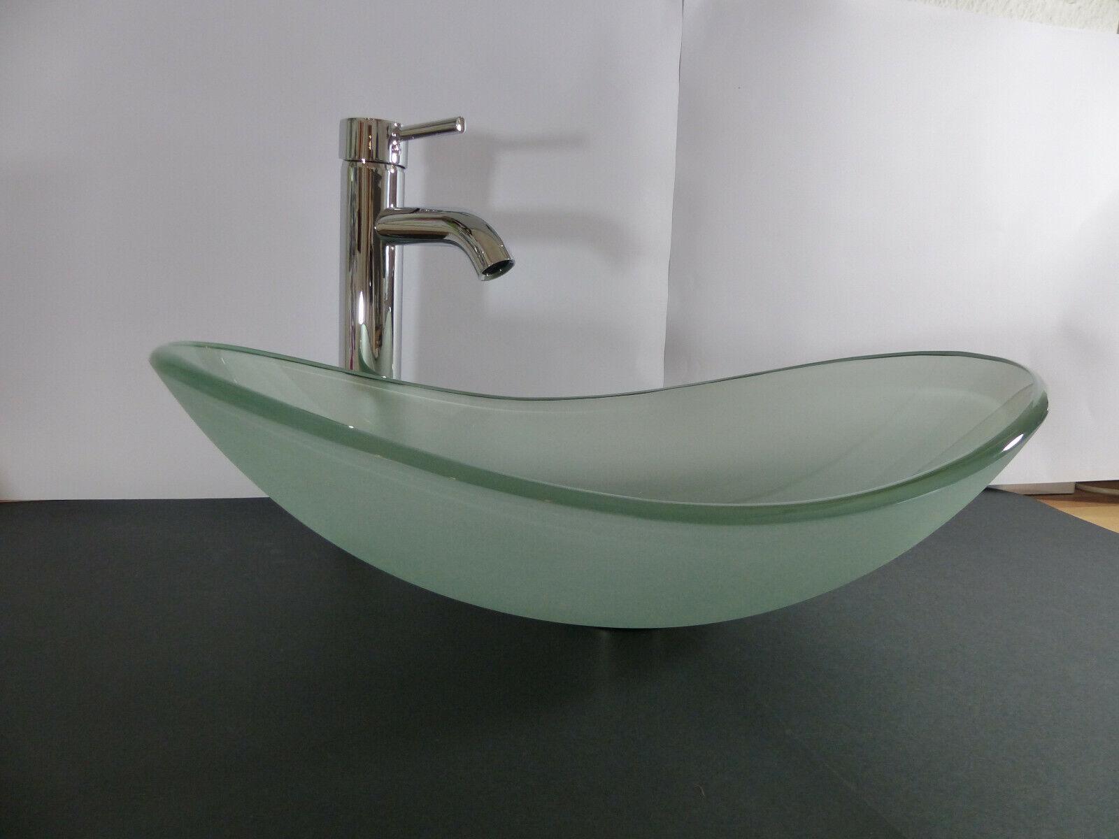 Aufsatz Glas Waschbecken Waschtisch OVAL satiniert Waschschale Glaswaschbecken