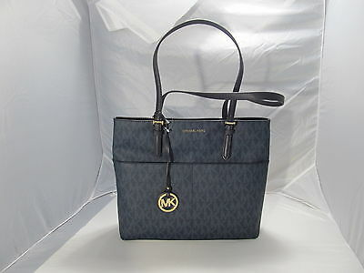 Large Pocket Tote ( MICHAEL KORS BEDFORD BALTIC BLUE LARGE POCKET TOTE HANDBAG )