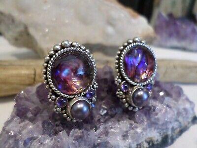 RARE Stephen Dweck Sterling Abalone Doublet Amethyst Pearl Clip Earrings