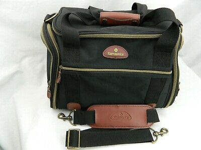 Samsonite Luggage Duffel Bag Travel Black and Brown Leather Expandable Tote