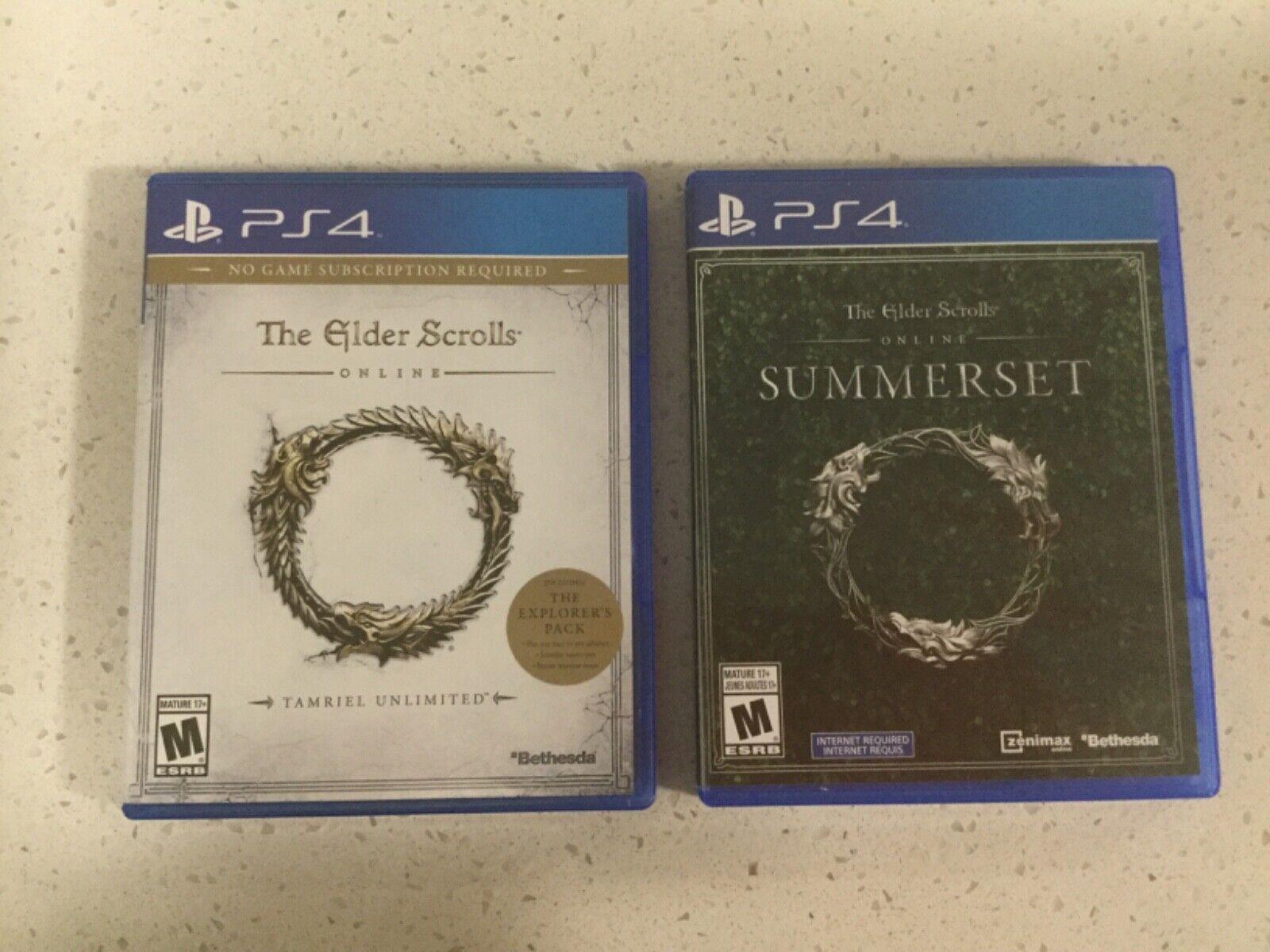 PS4 Lot Of 2 - THE ELDER SCROLLS TAMRIEL UNLIMITED SUMMERSET - $1.99