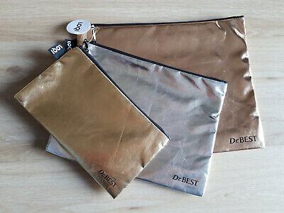 LOQI 3 St. Beauty Bag Set, mini in gold, midi in silber, maxi in rosegold ** TOP
