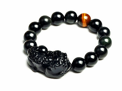 Feng Shui  black Obsidian  Pi Yao / Pi Xiu  Xie bracelet amulet for  wealth