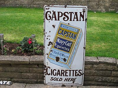 "1930s Original HEAVY ENAMEL ""CAPSTAN NAVY CUT"" CIGARETTE SIGN    TOBACCO"
