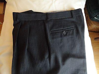 LAUREN -Ralph Lauren~Total Comfort Men's Black+Stripes WOOL Pleat Pants  32 x 27