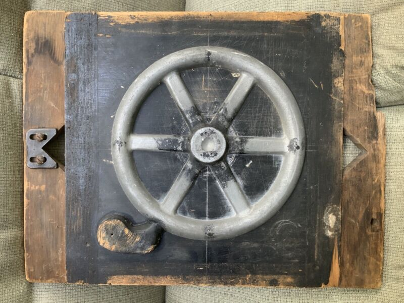 AUTHENTIC WOOD BLOCK INDUSTRIAL MOLD STEAMPUNK FOUNDRY MANUFACTURING TWO SIDED