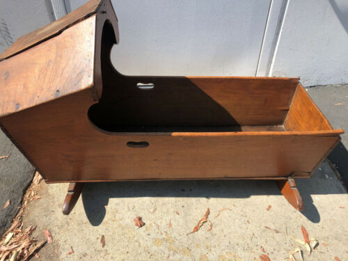 """ANTIQUE SOLID WOOD BABY INFANT ROCKING HOODED CRADLE 14""""X16""""X36"""" - LOCAL PICKUP"""