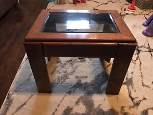 Solid Wood and Beveled Glass End Table