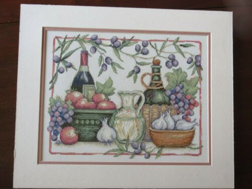 Completed finished cross stitch of wine bottles, grapes, fruit, 2 mats