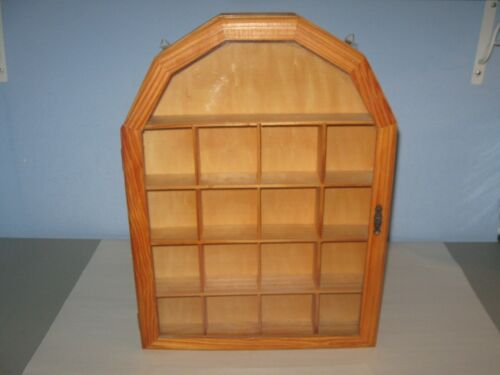 Curio Cabinet Wood and Glass Wall Mount for Miniatures