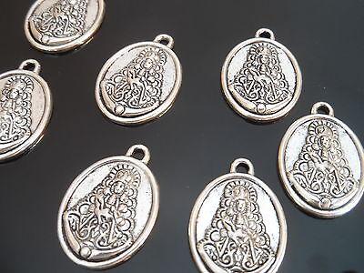 7 Colgantes Zamak Virgen del Rocío collares pulseras abalorios rociero (VR-06)