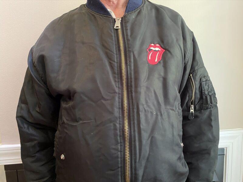 Vintage 1994 90s Rolling Stones Bomber Jacket Voodoo Lounge Black L