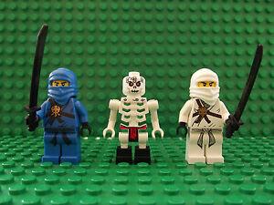 3 toute nouvelle lego ninjago ninja jay bleu zane blanc frakjaw squelette mini f