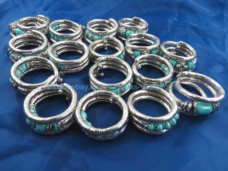 wholesale 20 cheap jewelry bulk lot turquoise stretch wrap bracelets