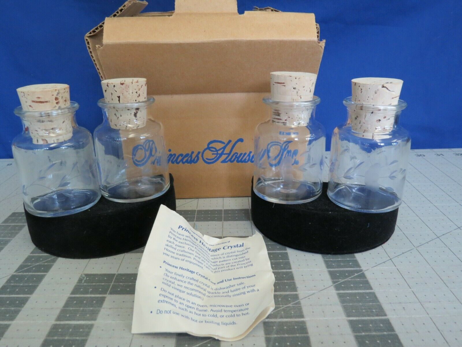 Princess House Crystal Heritage Spice Jar W/ Cork Lot Of 4 In Box - $4.99