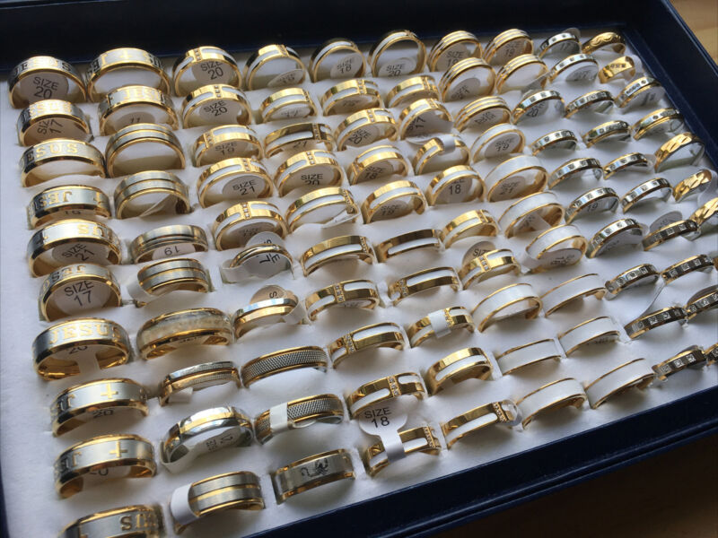 (lot Of 100) Wholesale Stainless Steel Gold Tone Rings