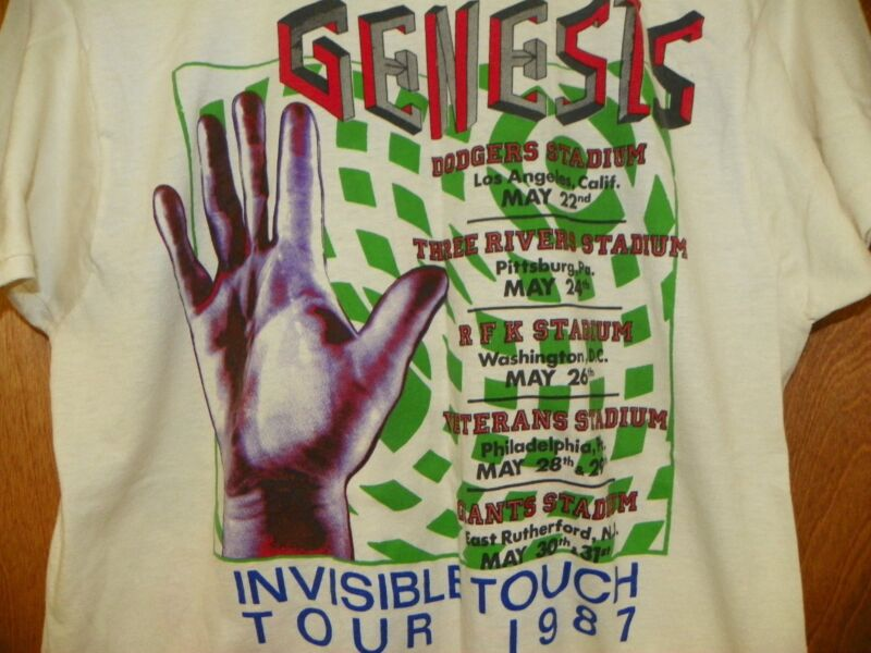 VINTAGE GENESIS INVISIBLE TOUCH 1987 TAN CONCERT TEE SIZE XL