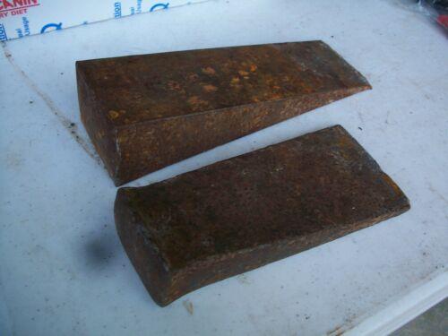2 Iron Wood Splitting Wedges, 1-Unused, 1-Experenced