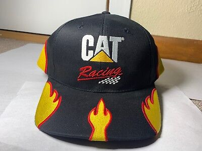 Rare CAT NASCAR Flame Bill Adjustable Snap Back Hat Cap (Flame Snap Cap)