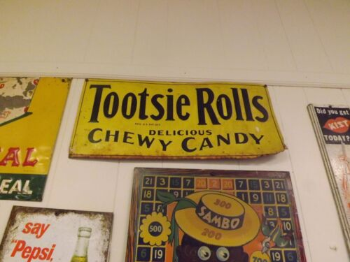 Vintage Tootsie Rolls Metal Tin Tacker Candy Sign