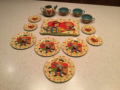 Vintage Ohio Art Tin Litho Tea Set Queen Of Hearts Benjamin Nice Condition Heart Tin Tea Set