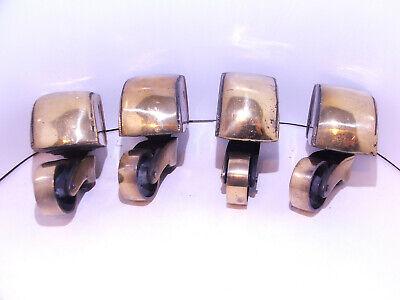 Set of 4 solid brass semicircle toe casters castors 33mm wheel Antique Furniture