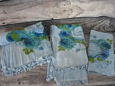 Vintage Bath Hand Towel Washcloth Blue Floral Pattern 3 Piece Set