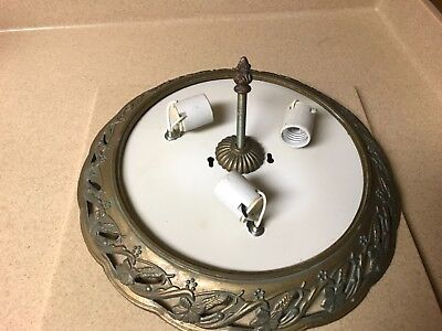 Vintage Antique Ornate detailed Brass Finish Chandelier Ceiling Light Fixture  (Vintage Antique Finish Chandeliers)