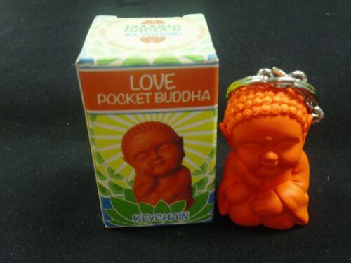 """POCKET BUDDHA FIGURINE KEYCHAIN """"LOVE"""" (ORANGE) BUDDHA KEY CHAIN KEYCHAIN"""