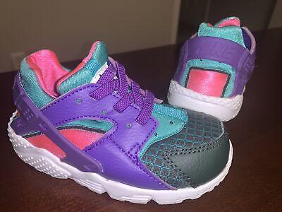 Toddler Girl's Nike Huarache Run Shoes 'Outdoor Green/Hyper Grape' - Size 7C