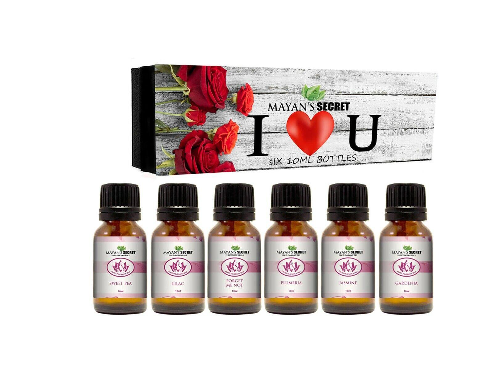 Premium Grade Fragrance Oil- I Love You – Gift Set 6/10ml,Forget me not, Plumeri Candle Making & Soap Making