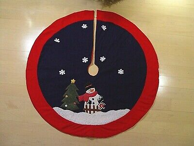 BLUE RED WHITE CHRISTMAS TREE SKIRT