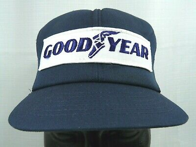 Vintage Goodyear Patch Mesh Trucker Hat Swingster Brand Blue White Made in USA