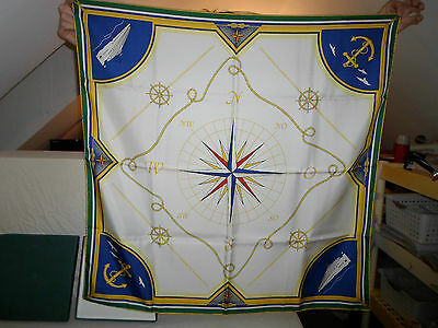 """Silk *Compass Flag* River Cloud Yacht Cruise Boat **Size: 35"""" x 35"""" Square Italy"""