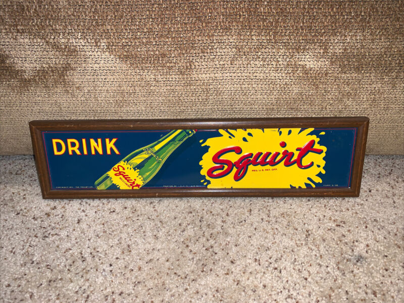 """very rare drink Squirt Soda Sign framed A.A.W. USA Form S-58 Approx 18""""x4.5""""nice"""
