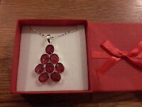 Brand Large Silver Plated Necklace With A Red Stones + Gift Box -  - ebay.co.uk