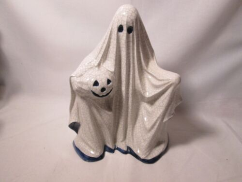 """Potting Shed Dedham Pottery Halloween 9"""" 1/2"""" Tall Ghost with Jack O Lantern"""